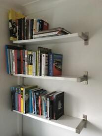 Ikea white gloss shelves