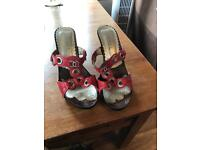 Chanel sandals red leather size 39