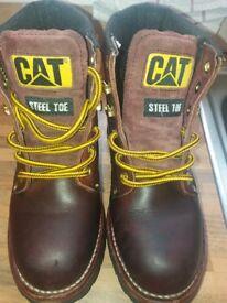 Steel toe cat boots size 4