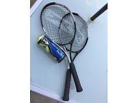 2 Slazenger Smash Tennis Rackets + 3 Dunlop Balls