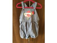2 x John Lewis 18-24m summer dungarees pink and blue