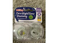 Nuby night time dummies 0-6 months