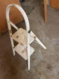 2 Step Ladder Stool White Good Condition