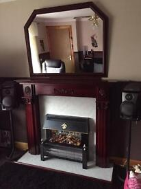Solid Wooden Mahogany Fireplace with Electric Fire