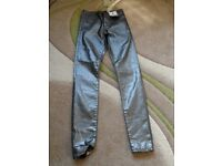 SKINNY HIGH WAIST metallic LOOK JEGGINGS SIZE 8 BRAND NEW WITH TAG