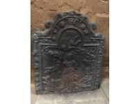Antique wrought iron fireplace backplate - stunning design