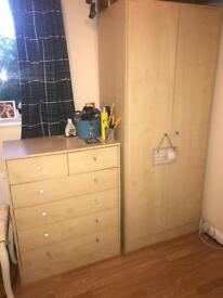 Light wood wardrobe and chest of drawers good condition
