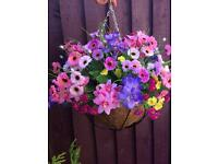 Artificial flower hanging basket