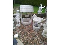 Small Concrete Wishing Well & Windmill Garden Ornaments