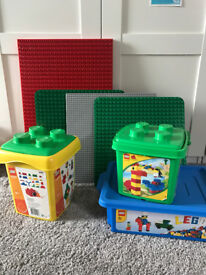 3 Lego boxes and 4 Building Boards
