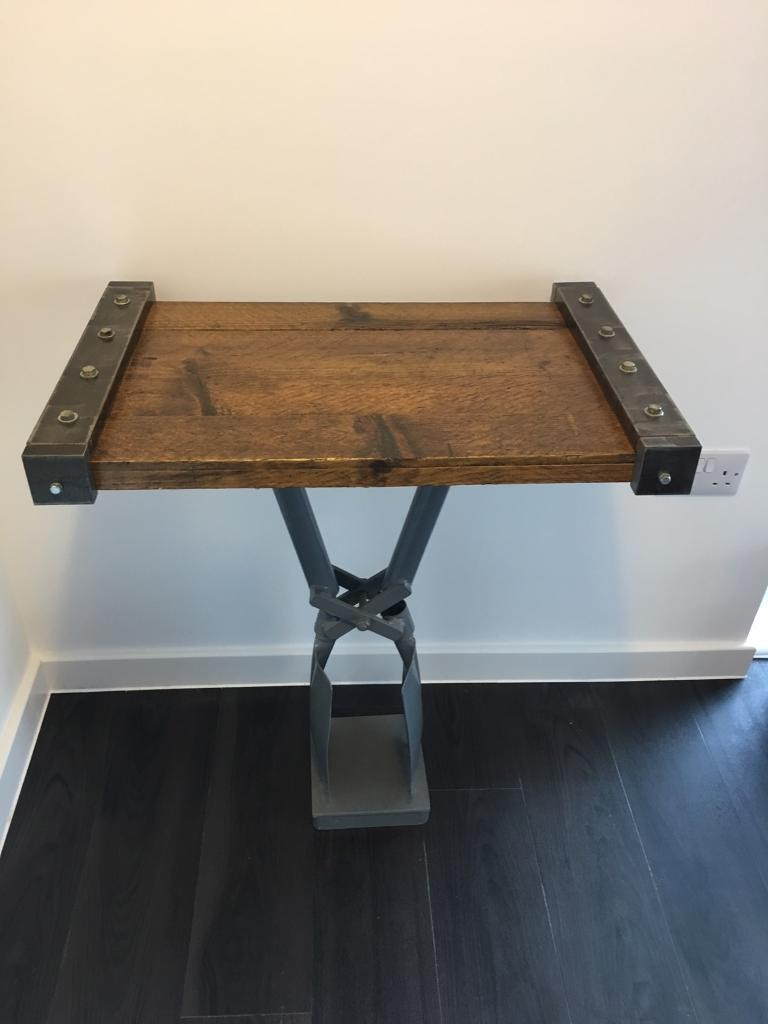 Bespoke Solid Wood & Metal Industrial Style Upcycled Side Table