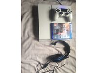 Playstation 4 with headset and battlefield