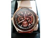 Rare mens large rose gold world timer chronograph sekonda watch mint