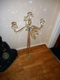 large glass tall 5 arm candle holder