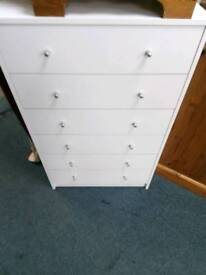 NEW Alban 6 Drawer Chest in either White, Oak effect or Black