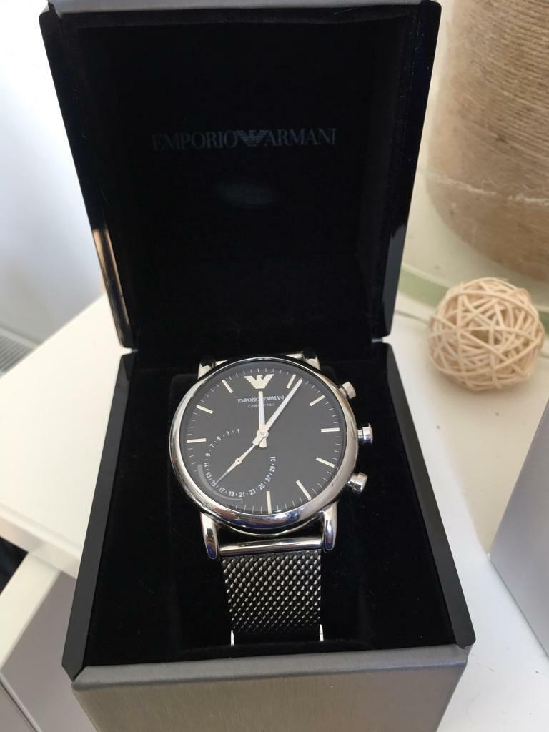 789430fc9224b Emporia Armani Connected Silver Stainless Steel Hybrid Smartwatch ...