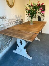 Vintage Oak Extending 6.6 foot Refectory Farmhouse Kitchen Dining Table