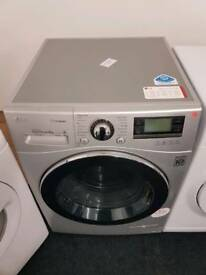 Silver LG 9kg washing machine with warranty and fast