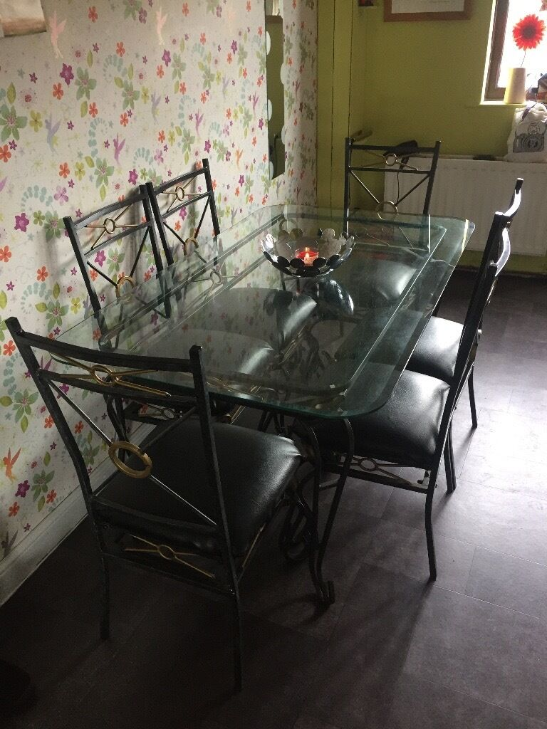 Metal Glass Dining Table 6 Chairs