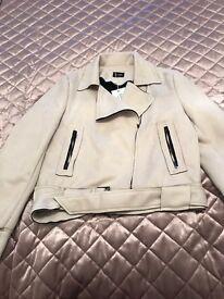 Ladies faux suede biker jacket
