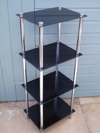 "Stylish 4 Tier Black Glass & Chrome Unit-40 1/2"" H x 16 3/4"" W x 11 3/4"" D"