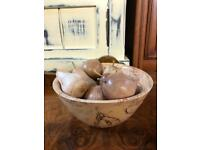 Wooden hand made bowl with hand made fruit