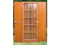 Mahogany Glass Panel Door + a set of Mahogany Veneered double doors
