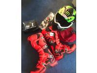 Motocross gear helmet boots gloves goggles etc