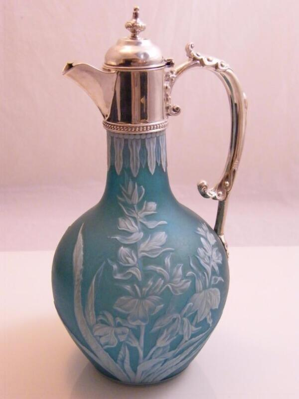WEBBS CAMEO GLASS CLARET JUG WITH DECORATIVE SILVER HALLMARKED LONDON 1886 MOUNT