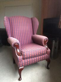 Heather Tartan Wing Back Arm chair. Slight wear to arms but everything else excellent.