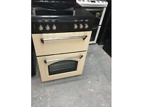 Classic Cream &Black Double Oven Fan Ceramic Top Electric Cooker (600 Wide )