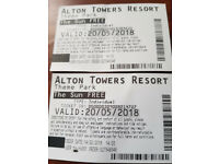 2 tickets Alton Towers 20.05.2018