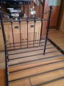 Black iron single bed excellent condition