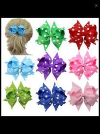 10X Handmade Bow Hair Clip(10 Polka-dot Patterns)