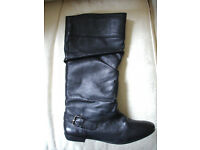 Ladies BHS Black Leather size 6 Flat Slouch Boots