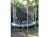 FREE 10FT TRAMPOLINE, not used anymore. slighting worn but good structure.