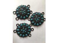 Large Turquoise & Metal Aged Beads - Craft Art Design Decoration Creative