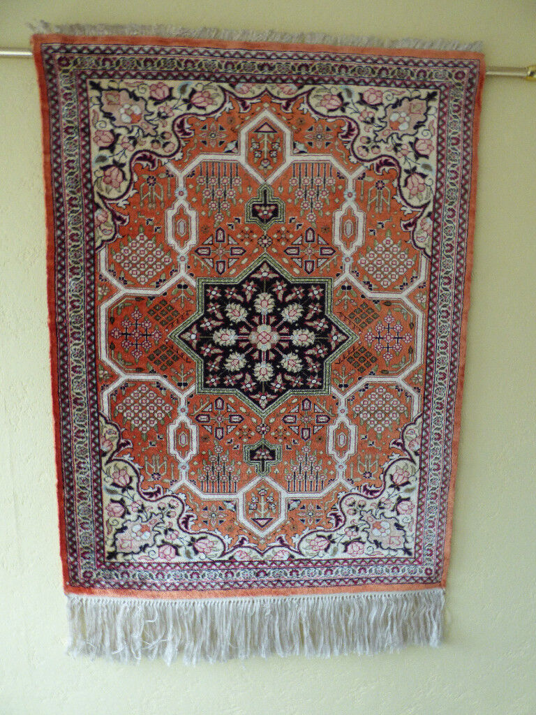 PERSIAN QUM SILK PRAYER RUG. HAND MADE FINELY KNOTTED SILK PILE