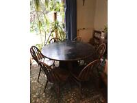 Solid Wood Antique Drop Leaf Table and 6 x Ercol Fleur Des Lys Chairs
