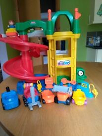 Fisher Price Little People twisty ramps garage plus extra vehicles