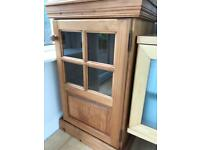 Pine and glass storage cabinet