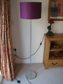 Standard Floor Lamp in chrome with a nice Purple Shade.