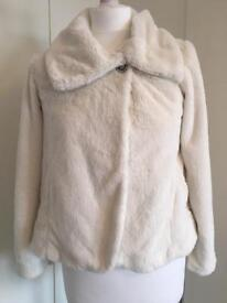 George Cream Girls Fur Coat 11-12y