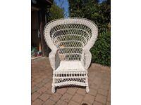 REDUCED: White wicker fan chair