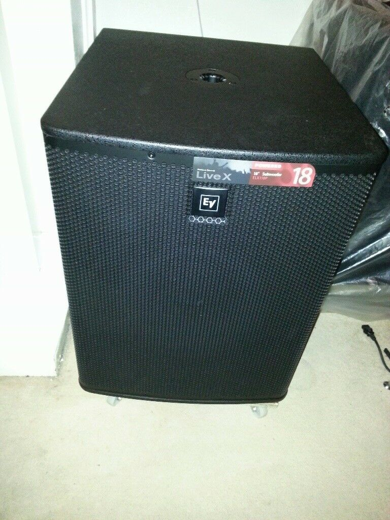 EV ELX118P Active Bass Subwoofer + Padded Case. MINT CONDITION NEVER GIGGED!!!