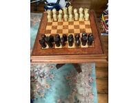 Solid mahogany chess backgammon table