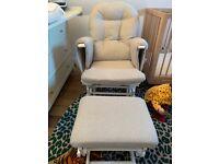 KUB Haywood Reclining Nursing Chair and Footstool Grey Chevron