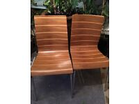 Lovely pair of stripe effect wood and metal dining chairs - excellent condition