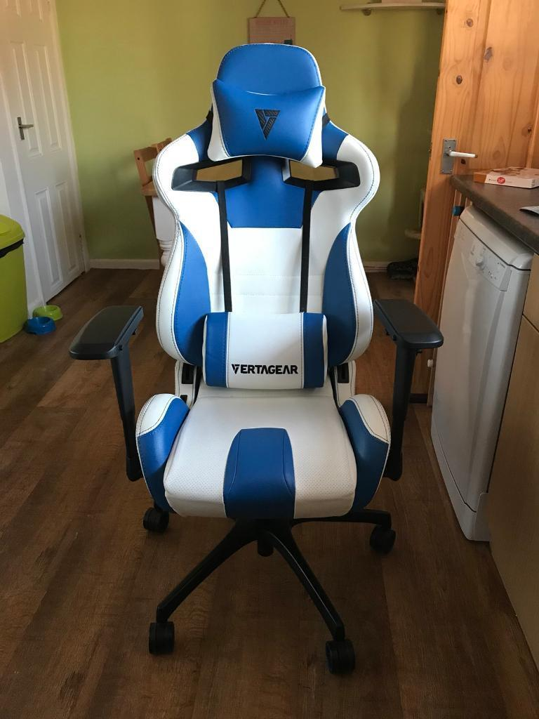 GAMING CHAIR - WHITE/BLUE EDITION. ERTAGEAR RACING SERIES