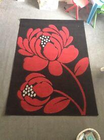 Black & Red Floral carpet